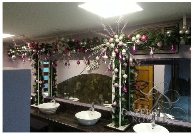 Our air-conditioned Female Restroom shown with Christmas decors